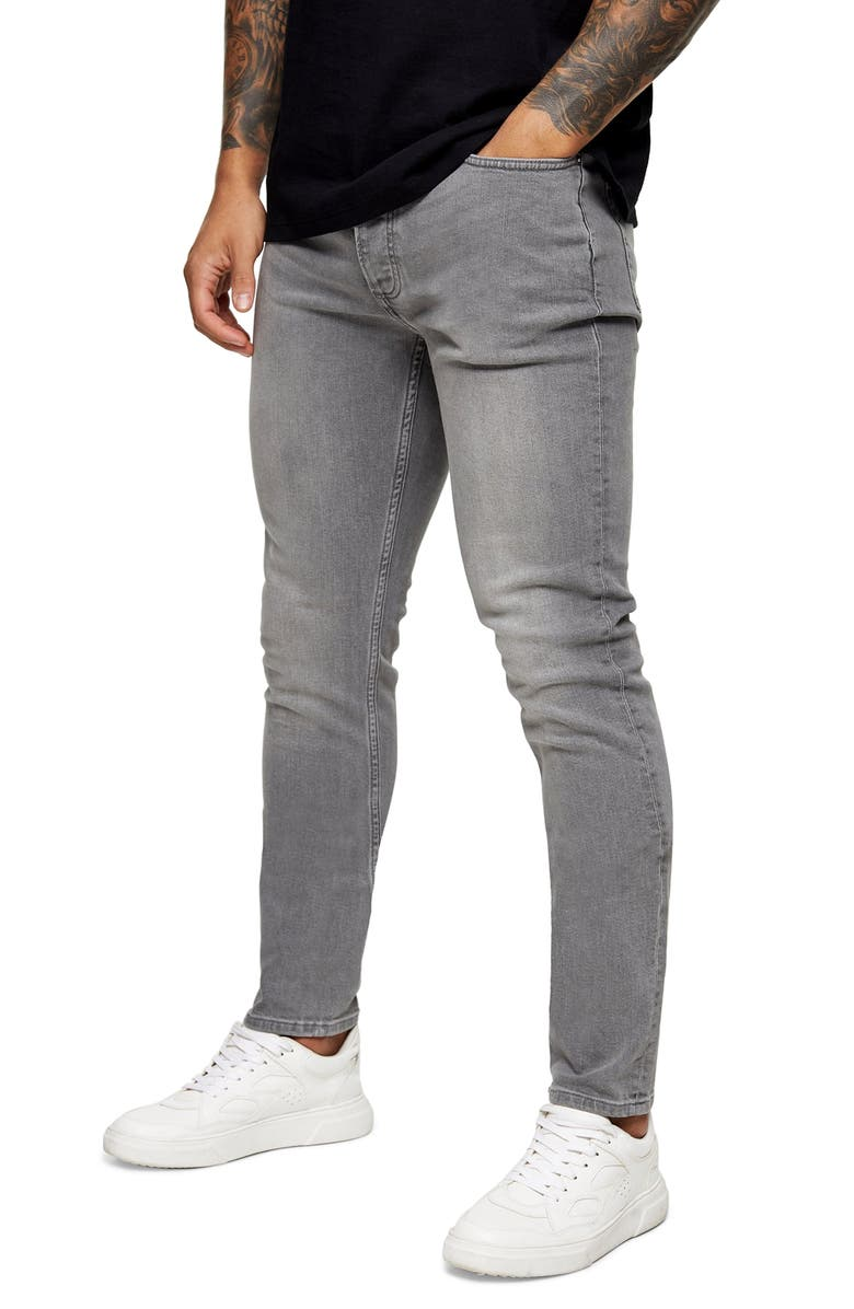 TOPMAN Mid Gray Skinny Jeans, Main, color, GREY
