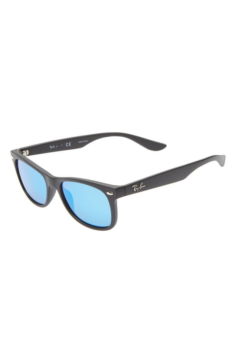 RAY-BAN Junior 48mm Wayfarer Mirrored Sunglasses, Main, color, BLACK/ BLUE MIRROR