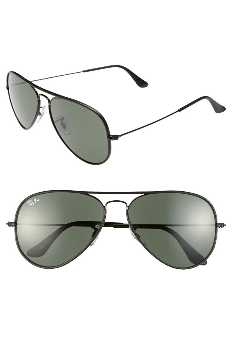 RAY-BAN 58mm Aviator Sunglasses, Main, color, 001