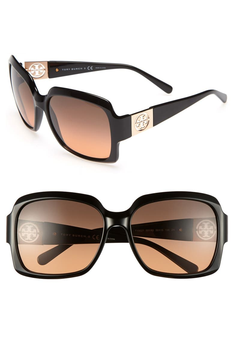 TORY BURCH 59mm Oversized Sunglasses, Main, color, 001