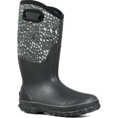 Bogs Classic Tall Appaloosa Insulated Waterproof Rain Boot, Wide Calf- Black