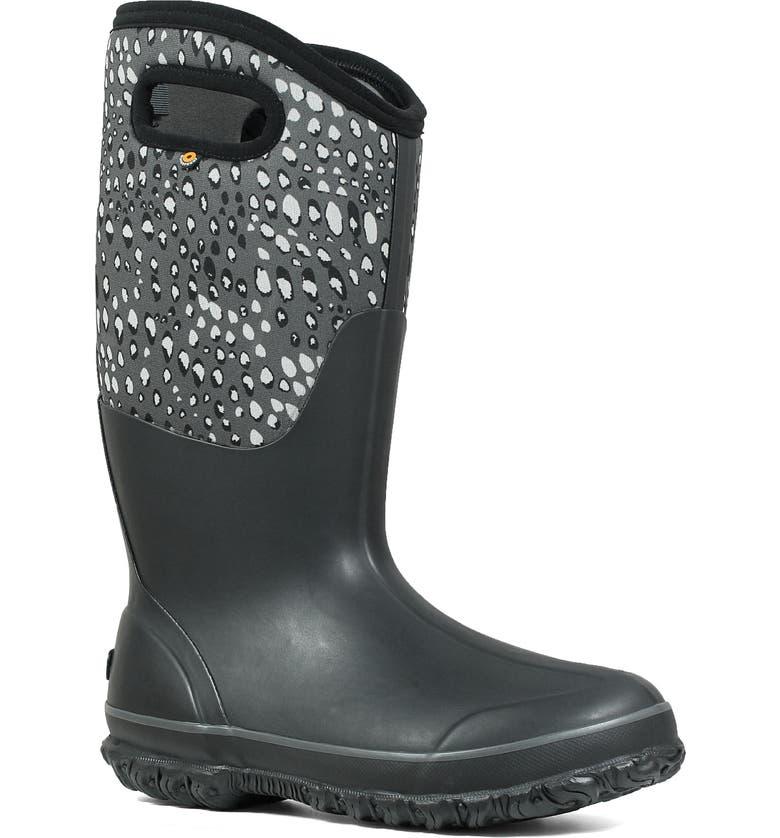BOGS Classic Tall Appaloosa Insulated Waterproof Rain Boot, Main, color, BLACK MULTI RUBBER
