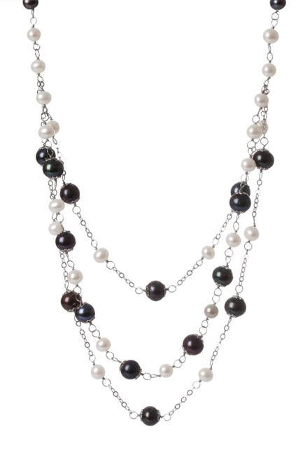 Image of Splendid Pearls 6-10mm Multicolor Freshwater Pearl Triple Strand Necklace