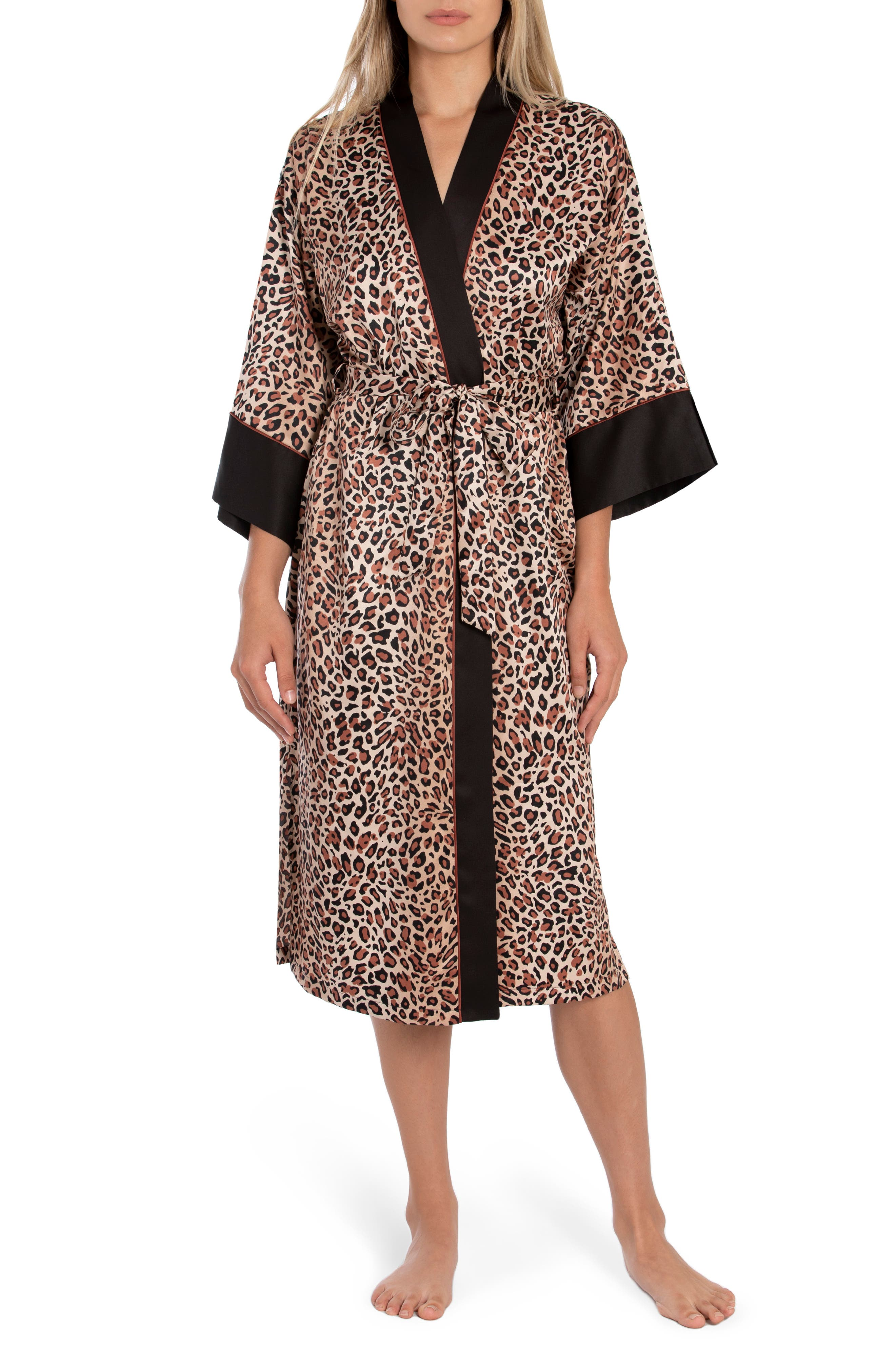 In Bloom by Jonquil Baby It's You Leopard Print Satin Robe (Nordstrom Exclusive)   Nordstrom