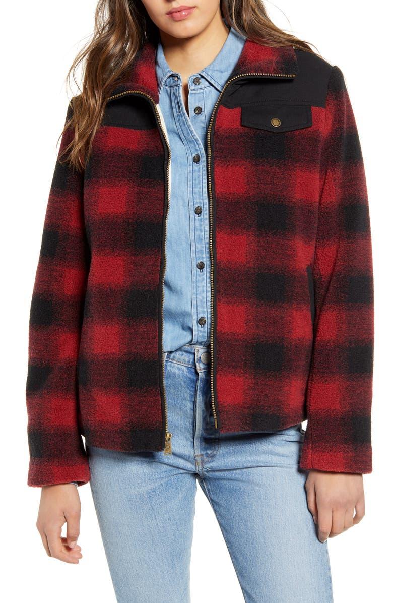 PENDLETON Camas Water Resistant Plaid Fleece Coat, Main, color, RED BUFFALO