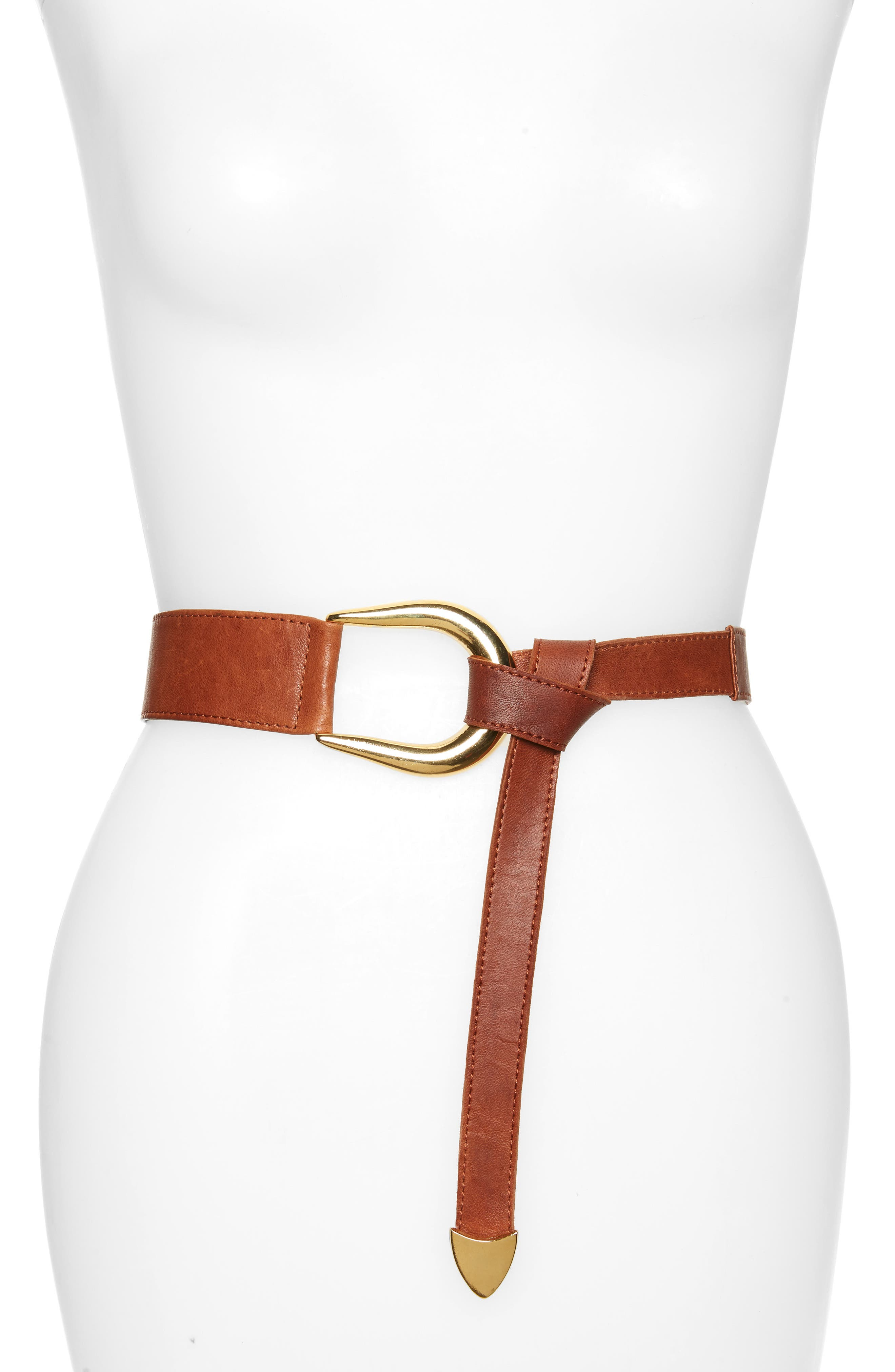 It\\\'s easy to find your perfect fit with a calfskin leather belt that you simply knot for a boho-chic look. Style Name: Raina Sheila Knot Belt. Style Number: 6014875. Available in stores.