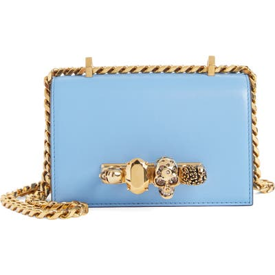 Alexander Mcqueen Mini Leather Knuckle Crossbody Bag - Blue