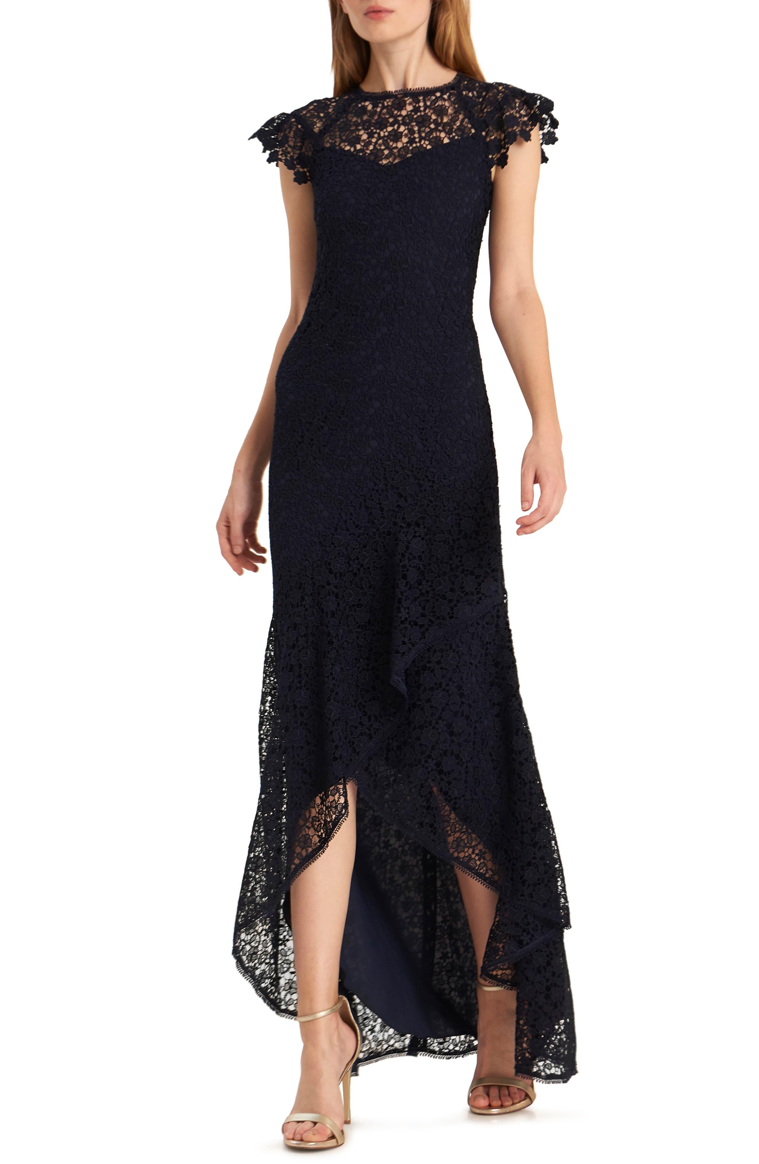 Ml Monique Lhuillier High/low Lace Evening Gown, Blue