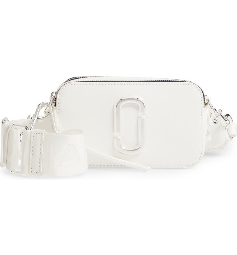 THE MARC JACOBS Snapshot Leather Crossbody Bag, Main, color, WHITE
