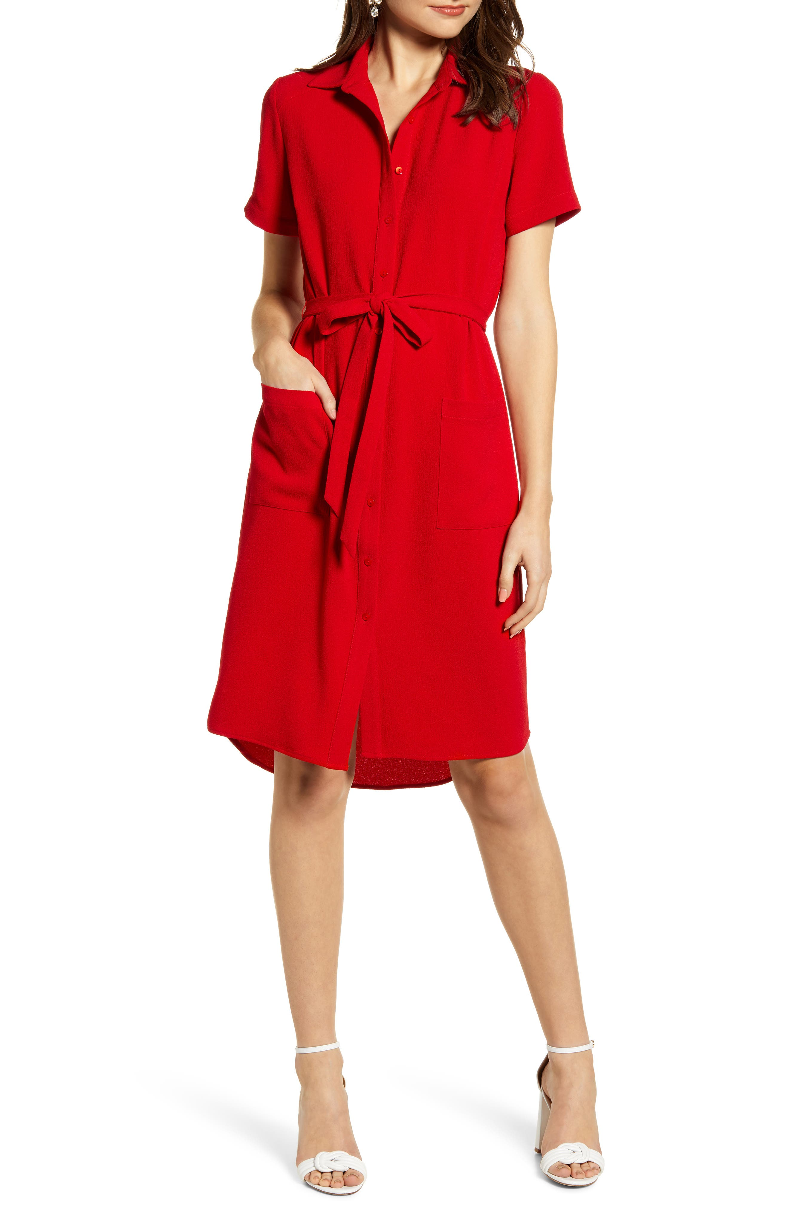 ,                             Everyday High/Low Shirt Dress,                             Main thumbnail 1, color,                             RED BARBADOS