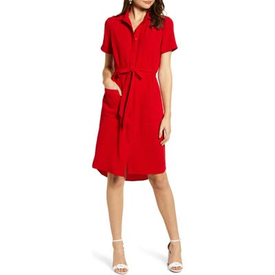 Rachel Parcell Everyday High/low Shirt Dress, Red (Nordstrom Exclusive)