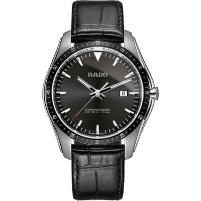 Rado Hyperchrome Leather Strap Watch, 45Mm