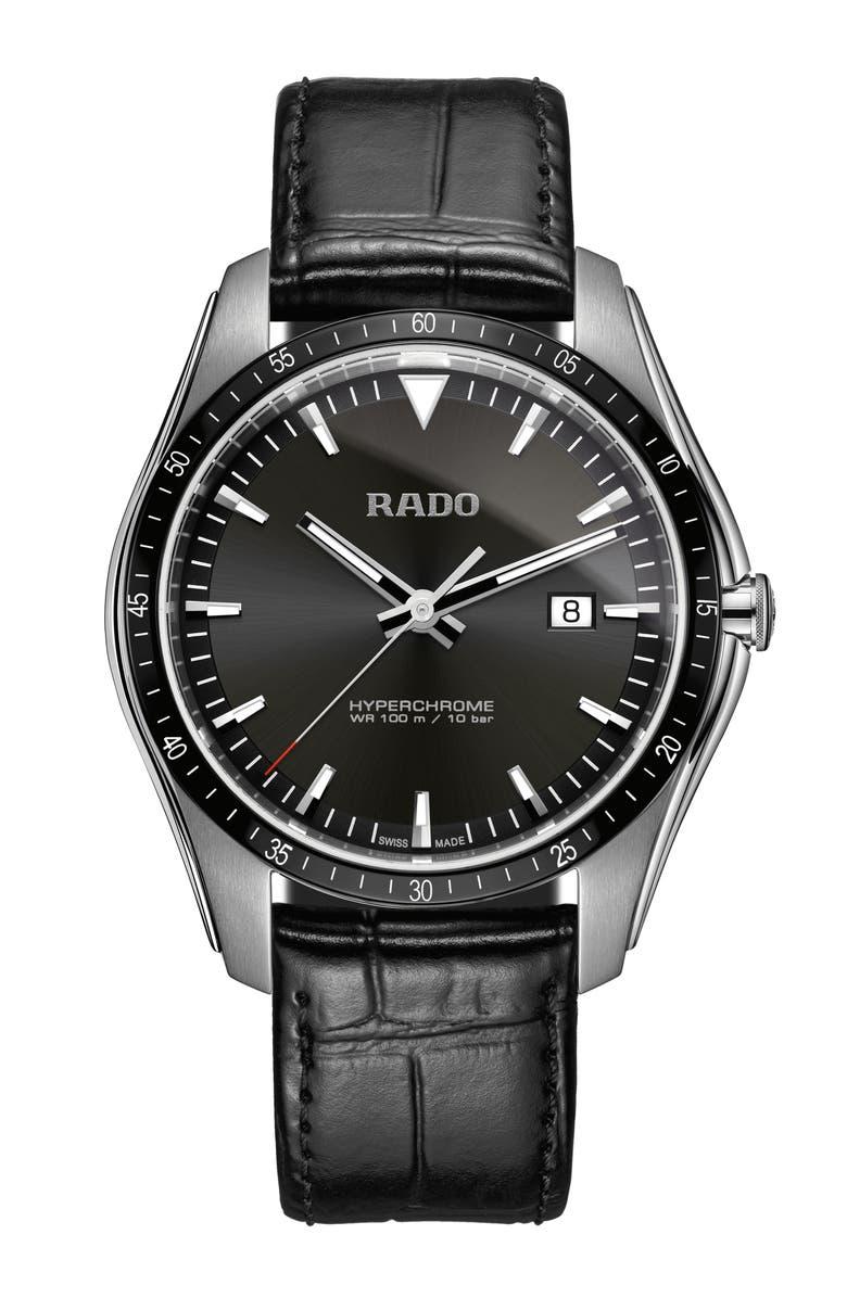 RADO HyperChrome Leather Strap Watch, 45mm, Main, color, BLACK/ SILVER
