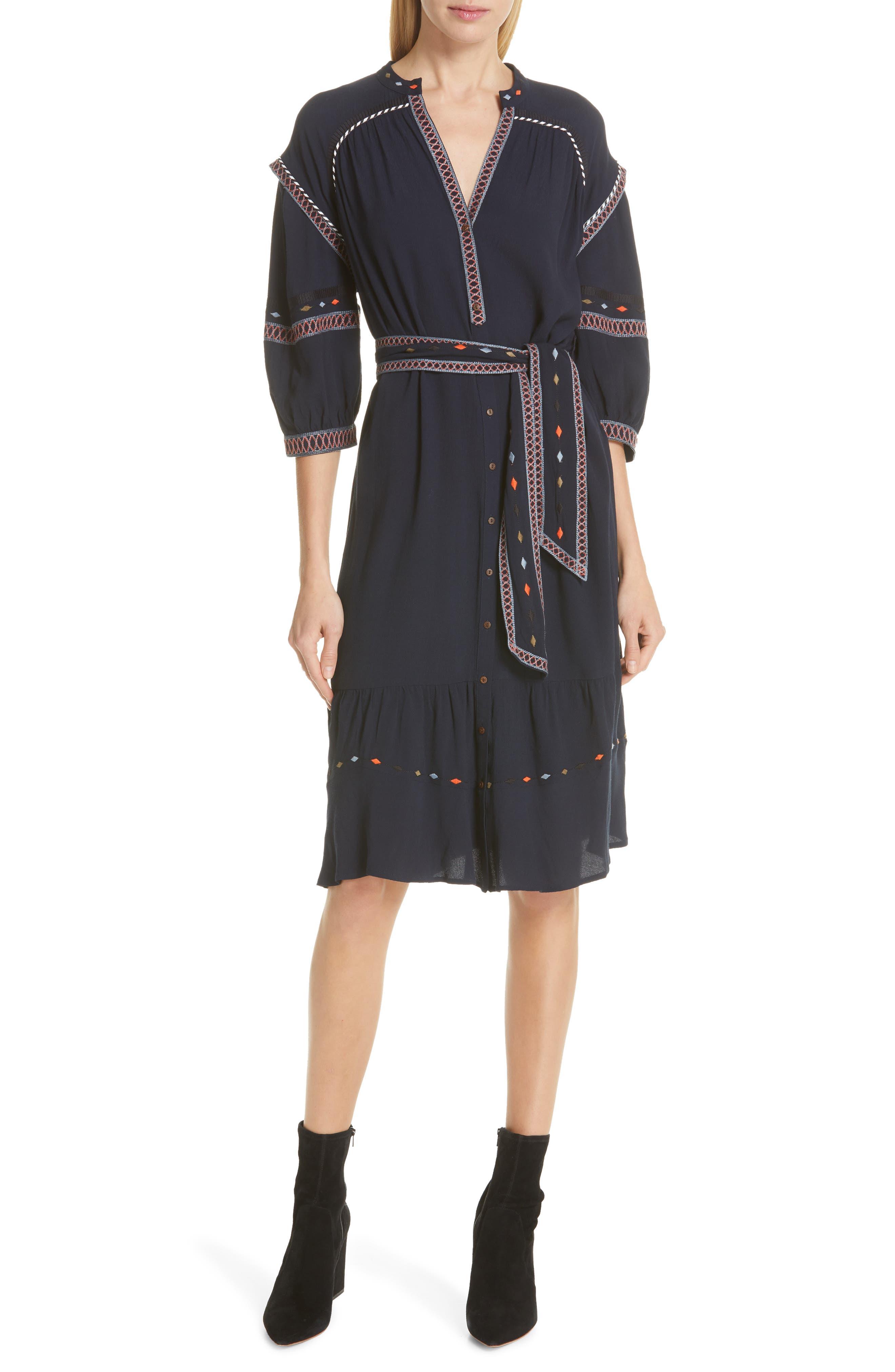 Ba & sh Patty Embroidered Dress, Blue