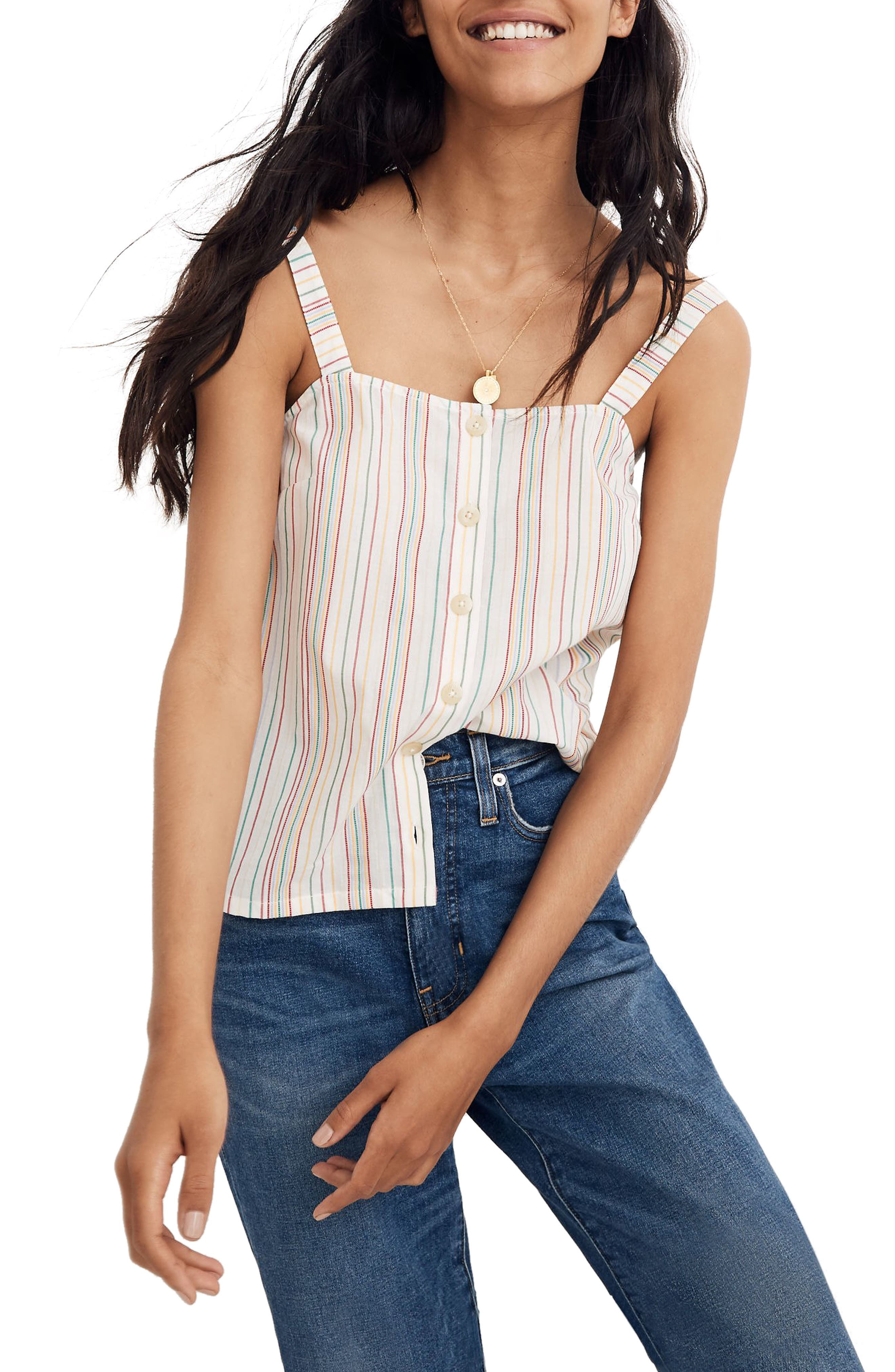 Madewell Textured Rainbow Stripe Button Front Camisole, Ivory