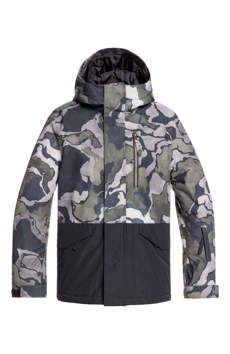 QUIKSILVER Mission Block Hooded Snow Jacket, Main, color, BLACK SIR EDWARDS
