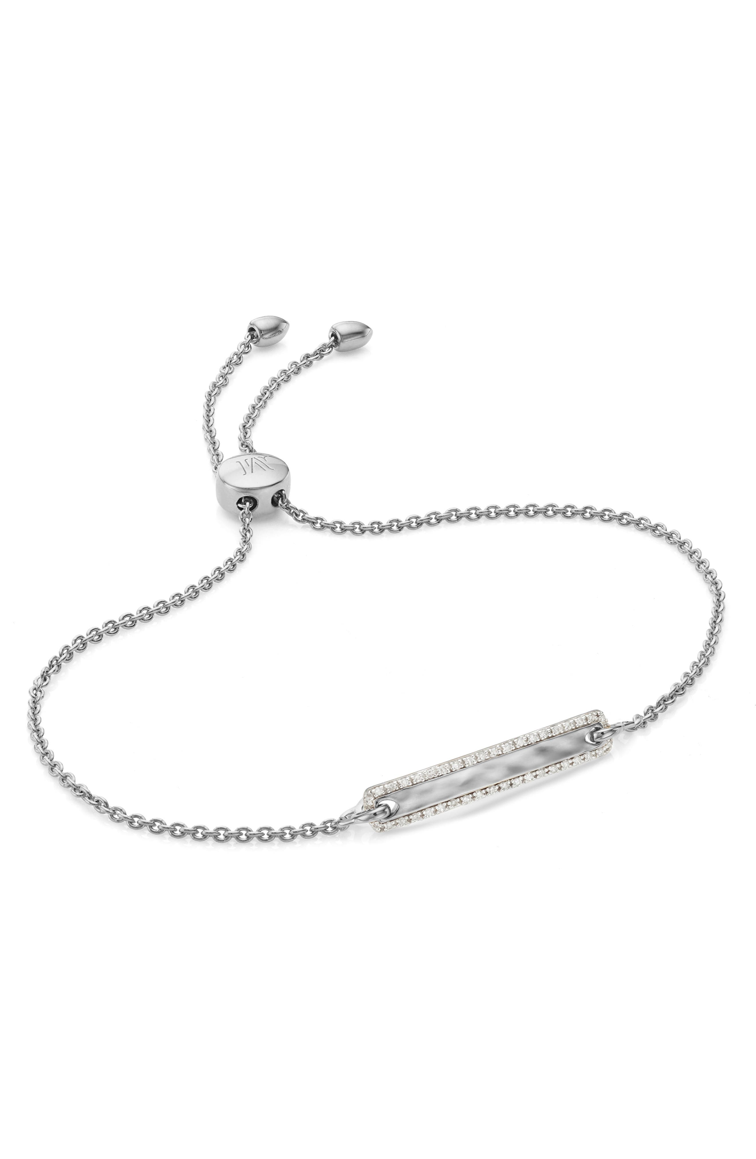 A slider bracelet makes a special gift with a slender, softly hammered metal bar, framed with diamond pave for a look inspired by the vibrancy of Havana, Cuba. Style Name: Monica Vinader Havana Bar Diamond Pave Friendship Chain Bracelet. Style Number: 6047149. Available in stores.