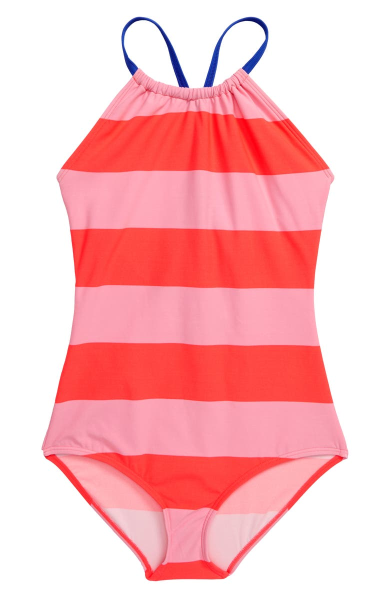 MINI BODEN Stripe One-Piece Bathing Suit, Main, color, SHOCKING RED/ PINK BLOOM