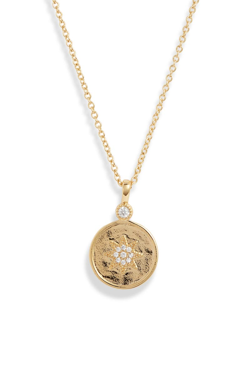 GORJANA Madison Star Coin Pendant Necklace, Main, color, GOLD/ WHITE CZ