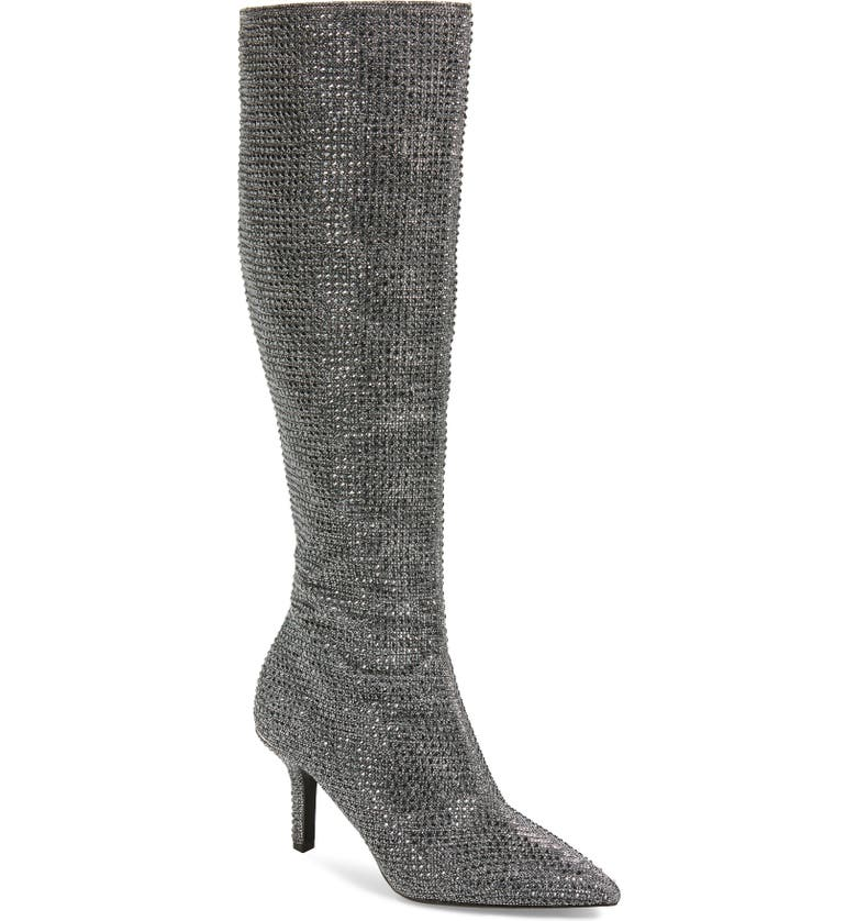 MICHAEL MICHAEL KORS Katerina Knee High Boot, Main, color, BLACK/ SILVER GLITTER