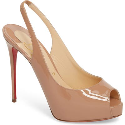Christian Louboutin Private Number Peep Toe Pump - Beige