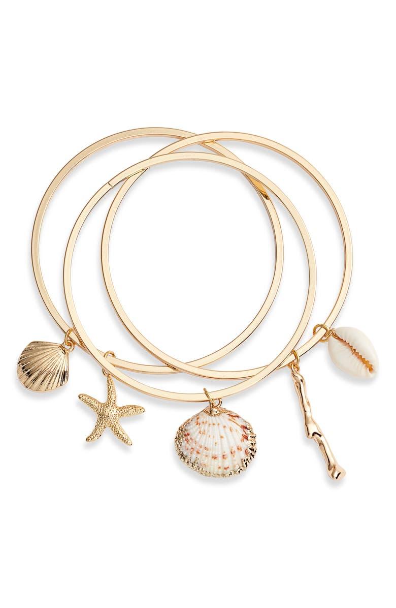 ETTIKA Set of 3 Shell Bangles, Main, color, GOLD