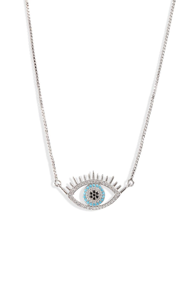 TEN79LA Evil Eye Pendant Necklace, Main, color, SILVER
