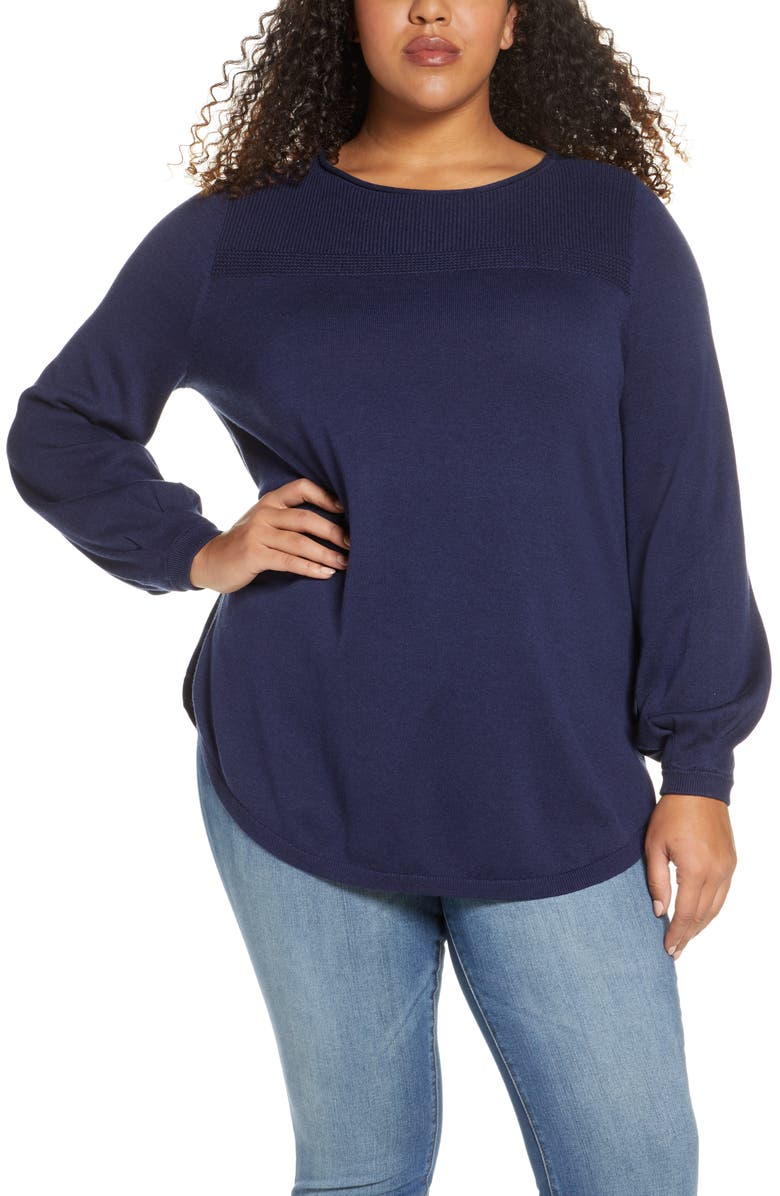 CASLON<SUP>®</SUP> Bishop Sleeve Cotton Blend Sweater, Main, color, NAVY PEACOAT
