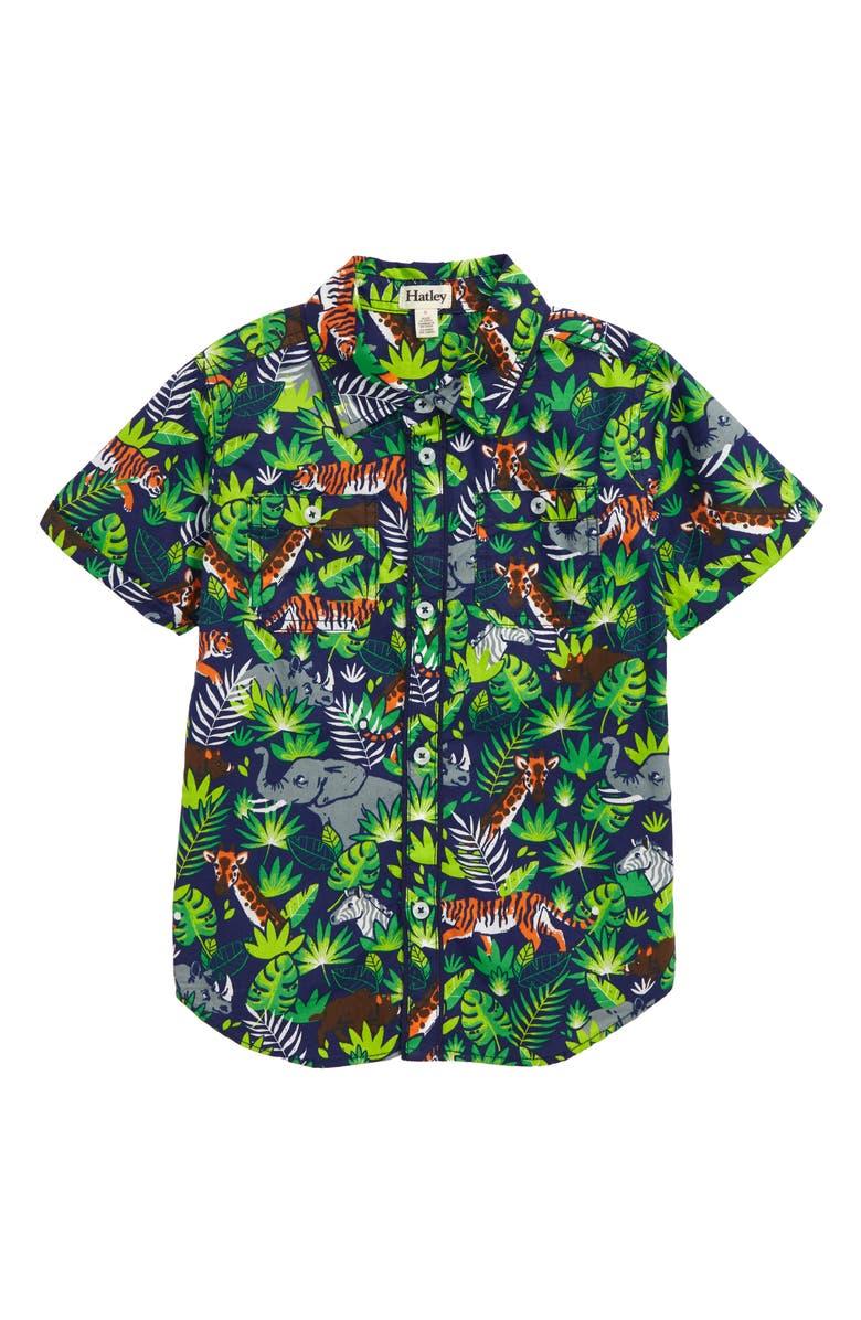 HATLEY Jungle Safari Woven Shirt, Main, color, GREEN