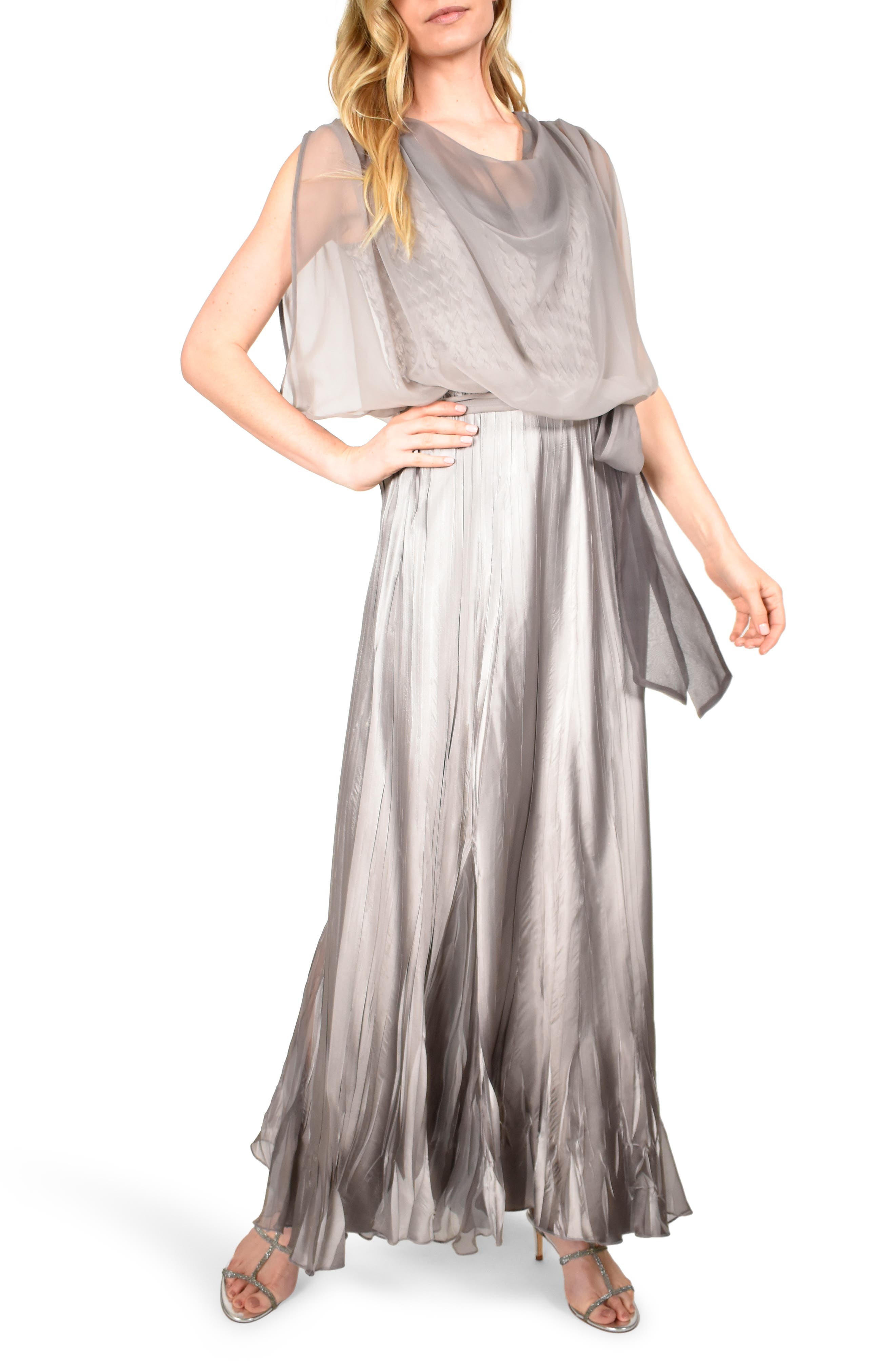 Titanic Dresses & Costumes   1912 Dresses Womens Komarov Cowl Neck Popover Gown $428.00 AT vintagedancer.com