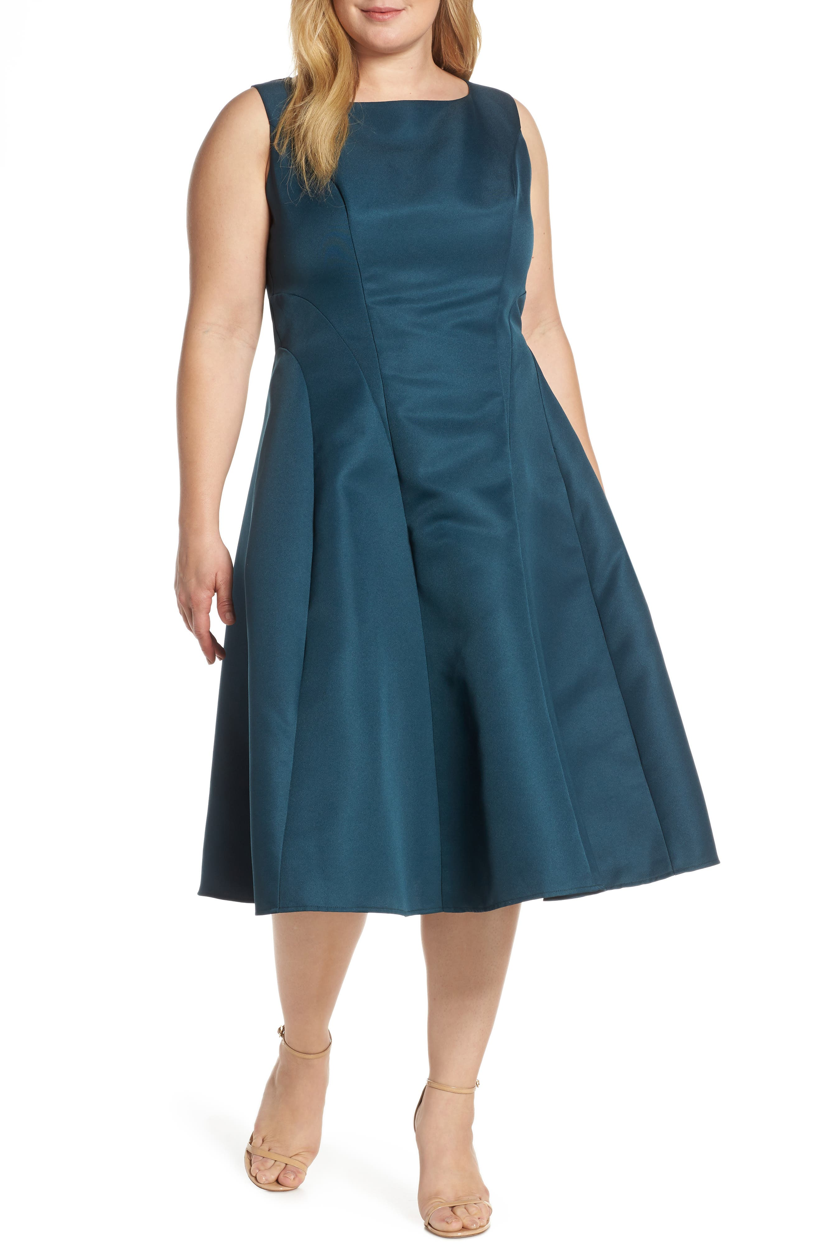 Plus Size Chi Chi London Linda Fit & Flare Cocktail Dress, Blue