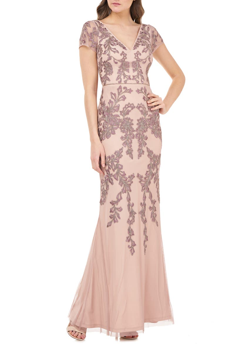 JS COLLECTIONS Beaded Mermaid Gown, Main, color, BLUSH