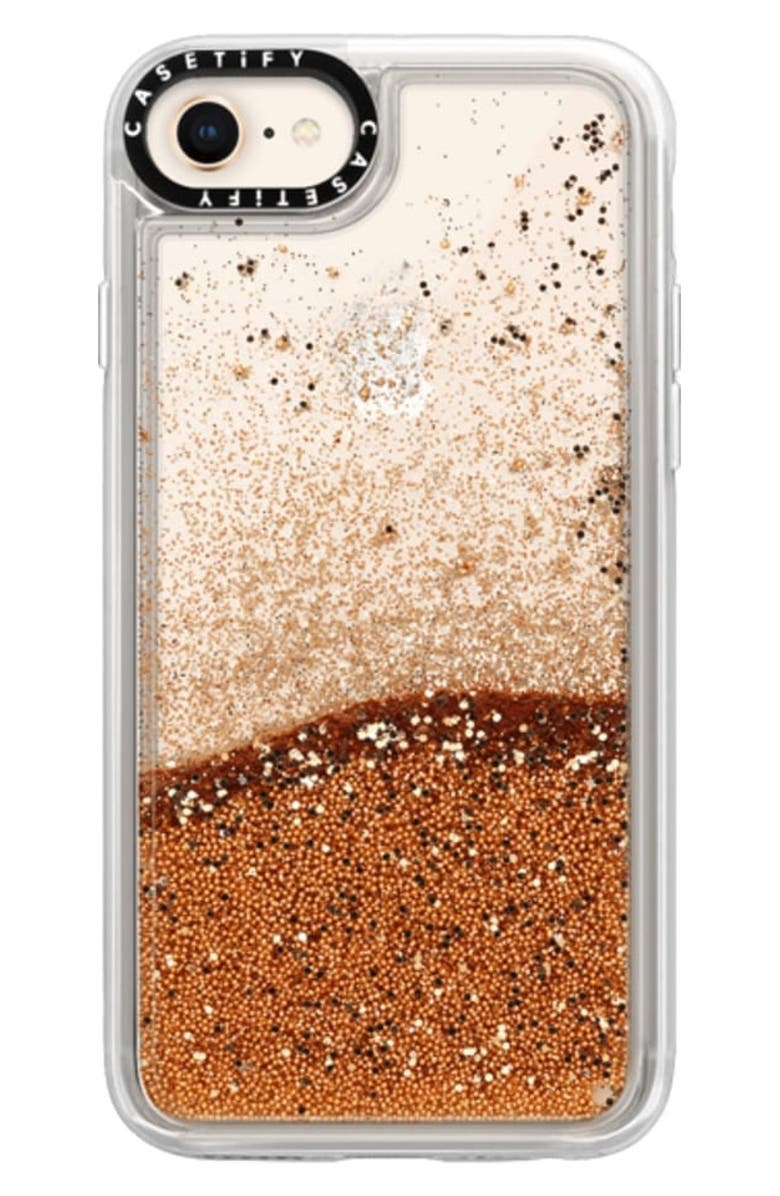 CASETIFY Glitter iPhone 7/8 Case, Main, color, GOLD