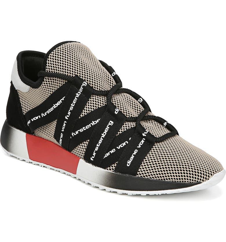 DIANE VON FURSTENBERG Pandora Sneaker, Main, color, BLACK/ NUDE