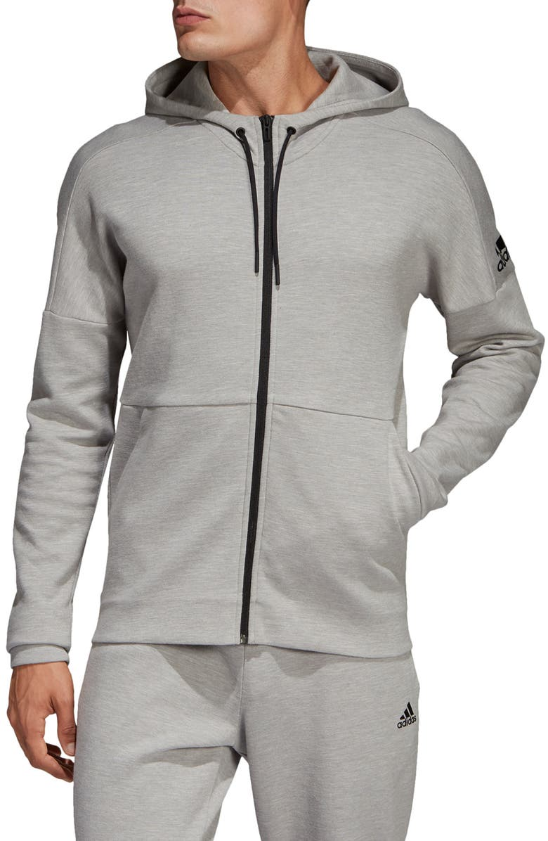 ADIDAS ID Stadium Zip Hoodie, Main, color, SOLID GREY/ RAW WHITE