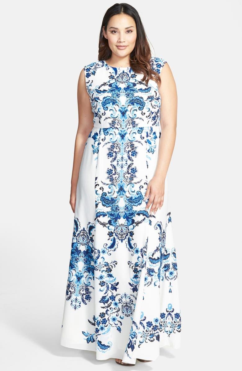 ELIZA J Placed Print Crêpe de Chine Maxi Dress, Main, color, 400