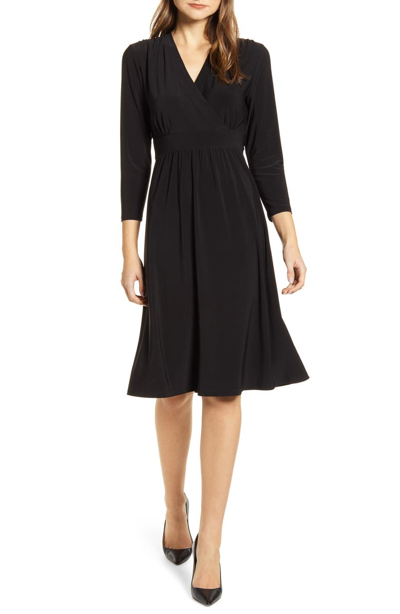 ANNE KLEIN Matte Jersey Fit & Flare Dress, Main, color, 001