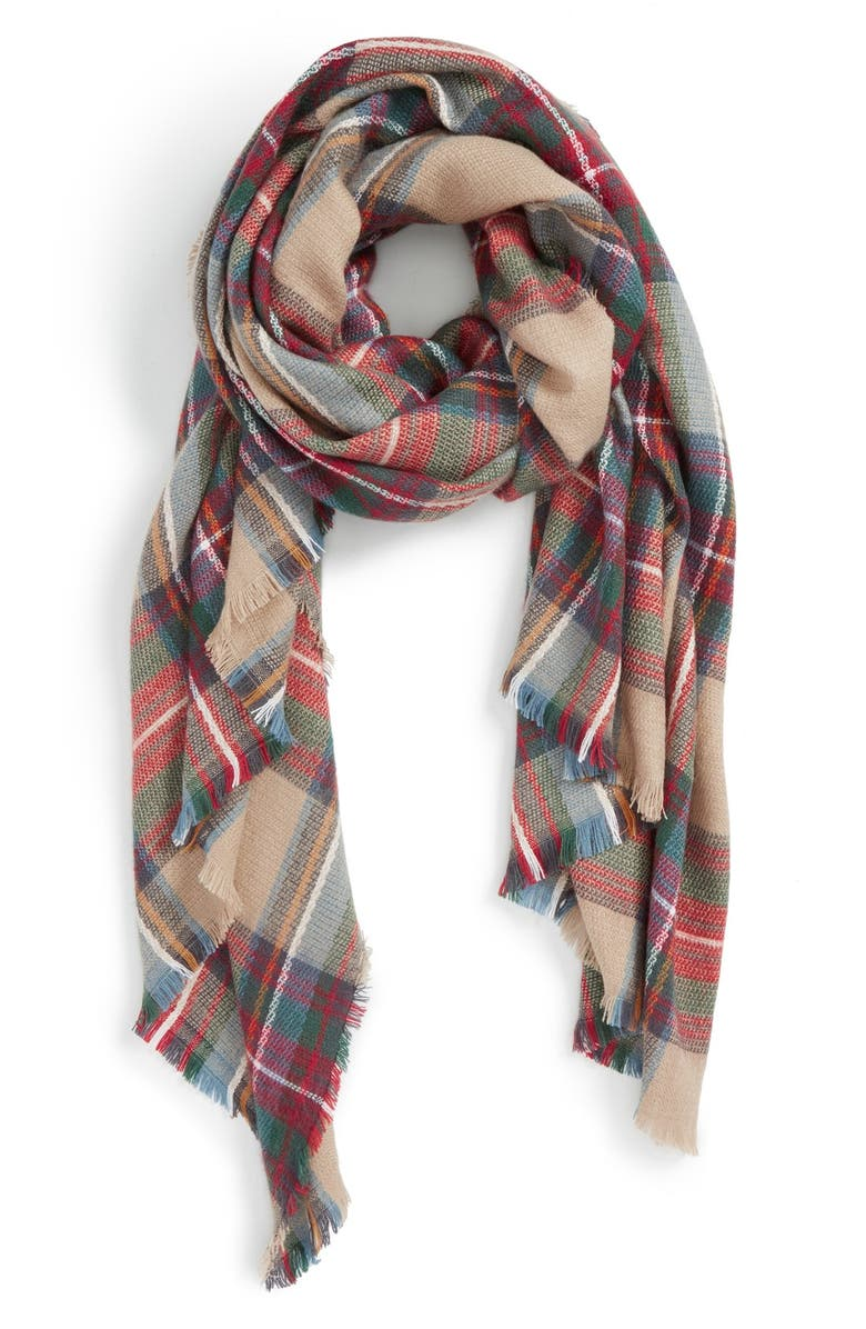 SOLE SOCIETY Plaid Blanket Scarf, Main, color, 250