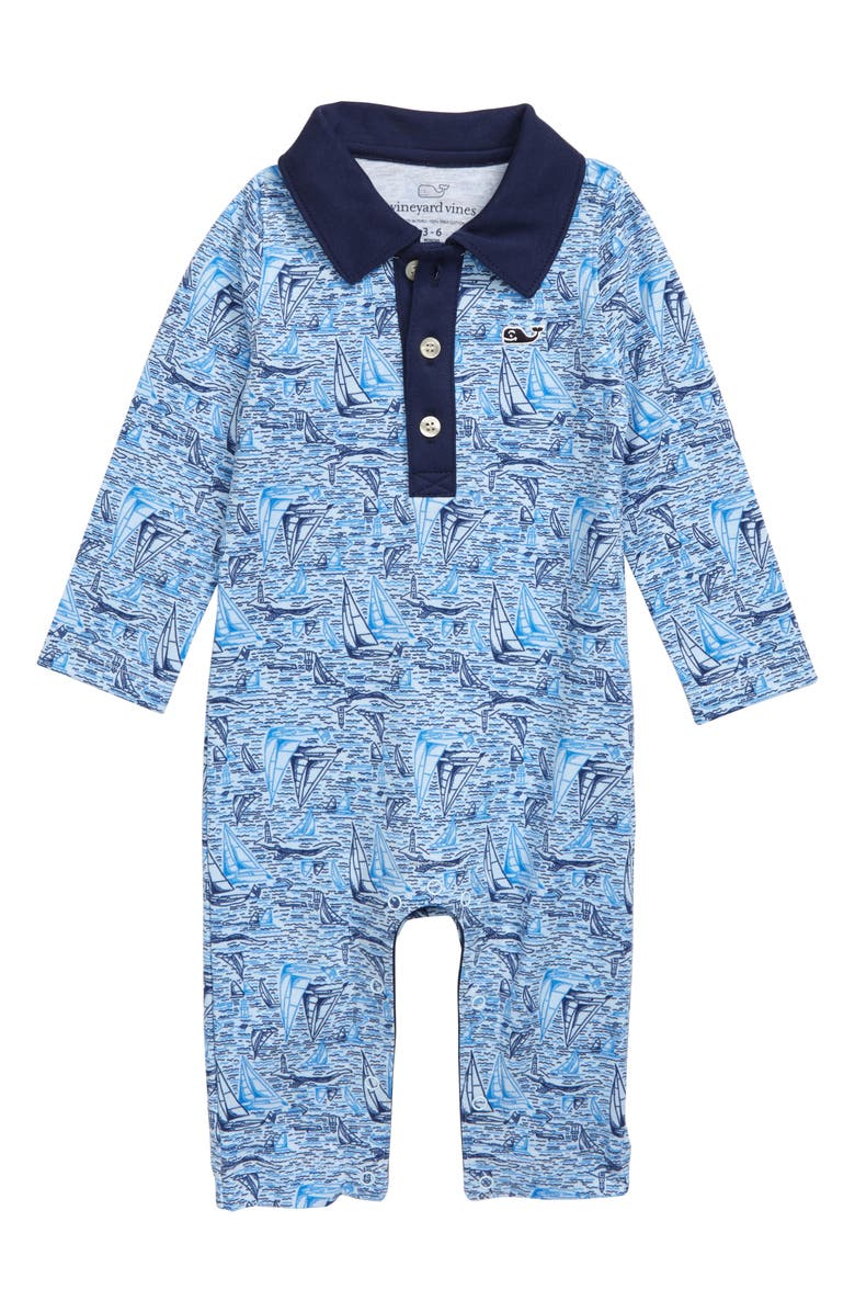 VINEYARD VINES Sailing Scenic Polo Romper, Main, color, SURF BLUE