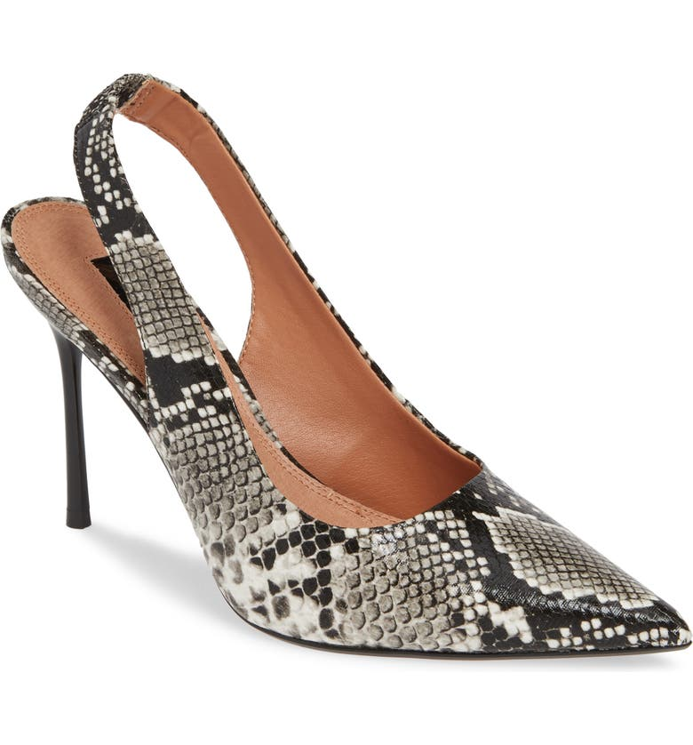 TOPSHOP Garden Slingback Pump, Main, color, BLACK SNAKE EMBOSSED LEATHER