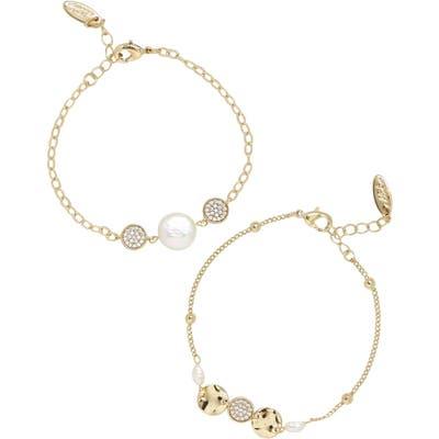 Ettika Set Of 2 Freshwater Pearl & Cubic Zirconia Bracelets