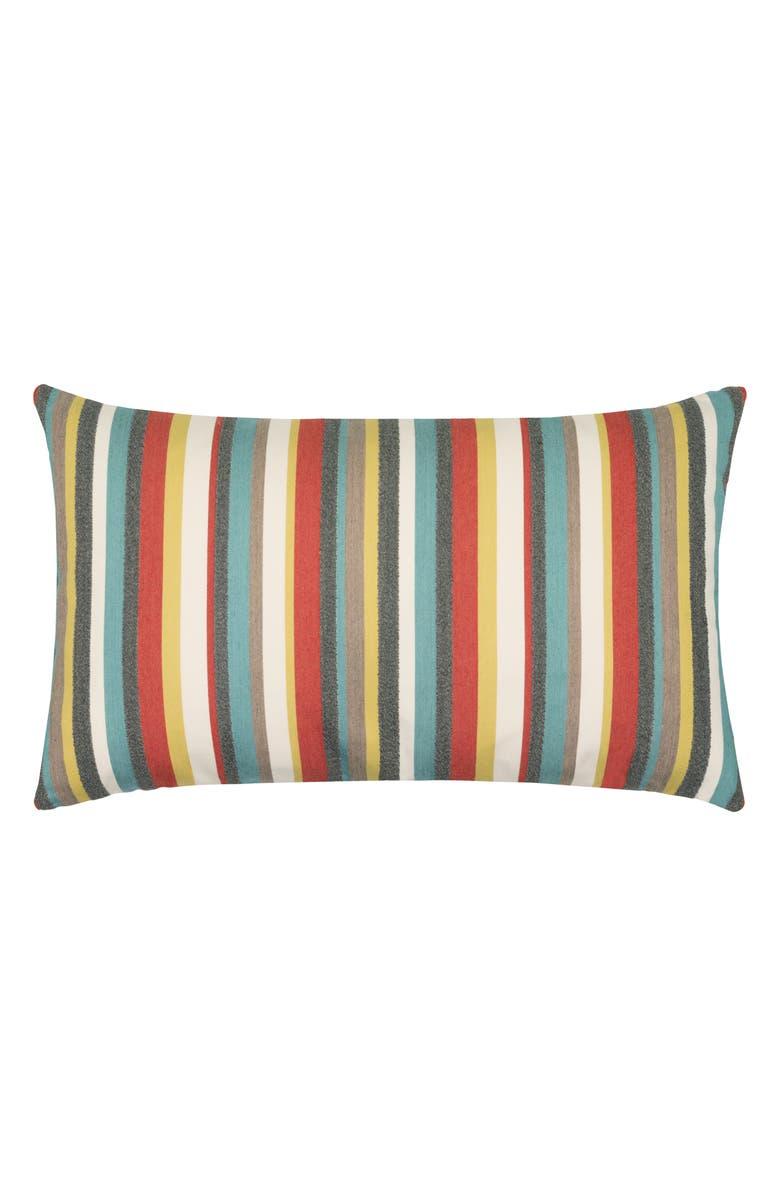 ELAINE SMITH Moda Stripe Indoor/Outdoor Lumbar Accent Pillow, Main, color, BLUE MULTI