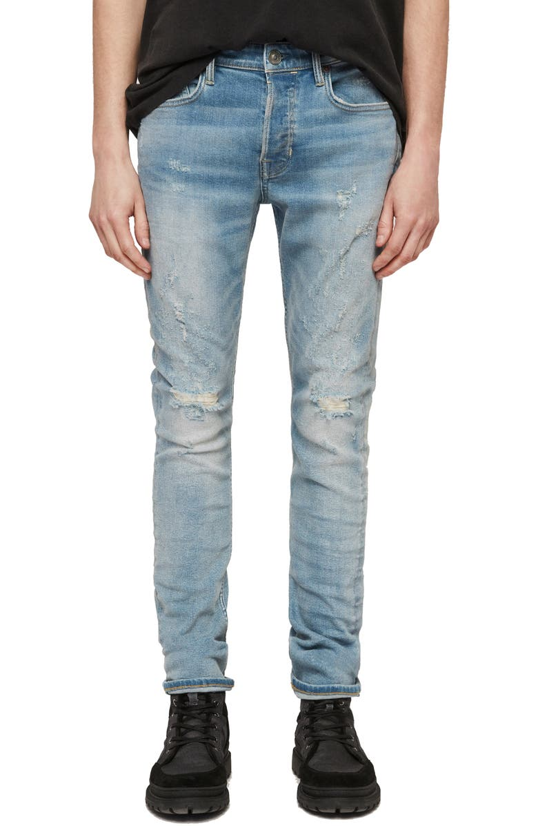 ALLSAINTS Cigarette Ripped Skinny Fit Jeans Light Indigo Blue