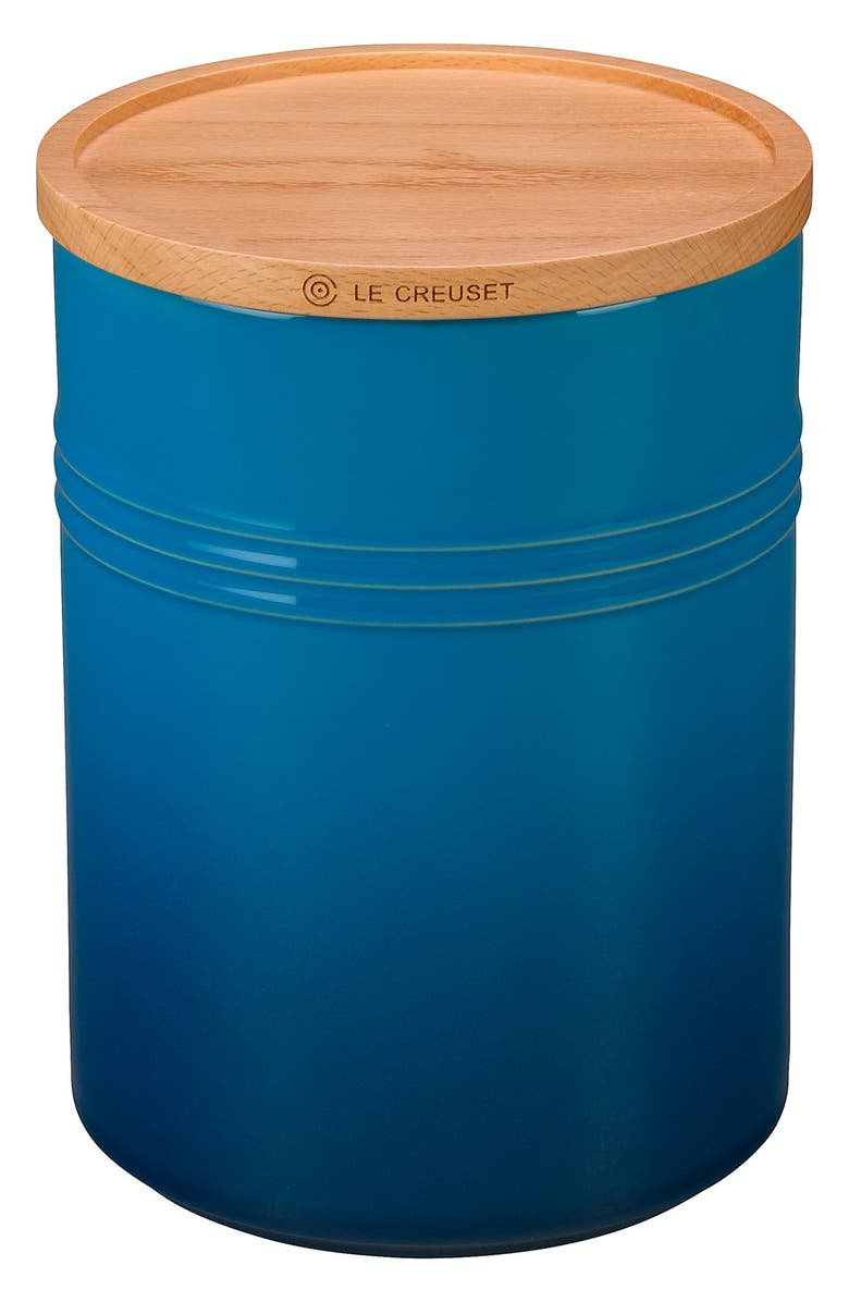LE CREUSET Glazed 22 Ounce Stoneware Storage Canister with Wooden Lid, Main, color, MARSEILLE