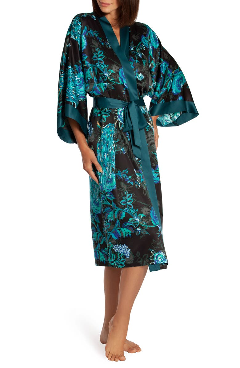 IN BLOOM BY JONQUIL Peacock Satin Robe, Main, color, BLUE