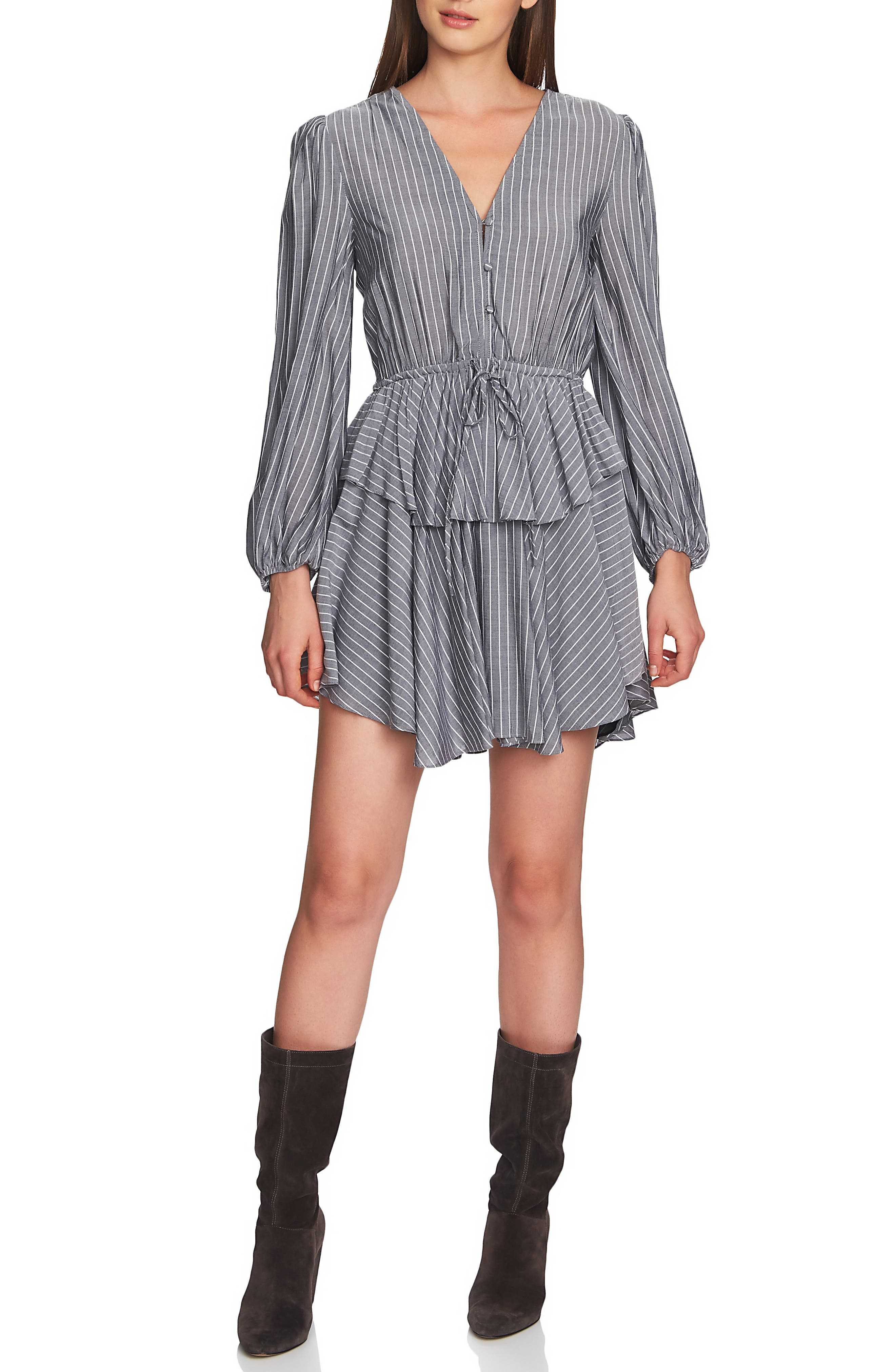 1.state Pinstripe Ruffle Mini Dress, Black