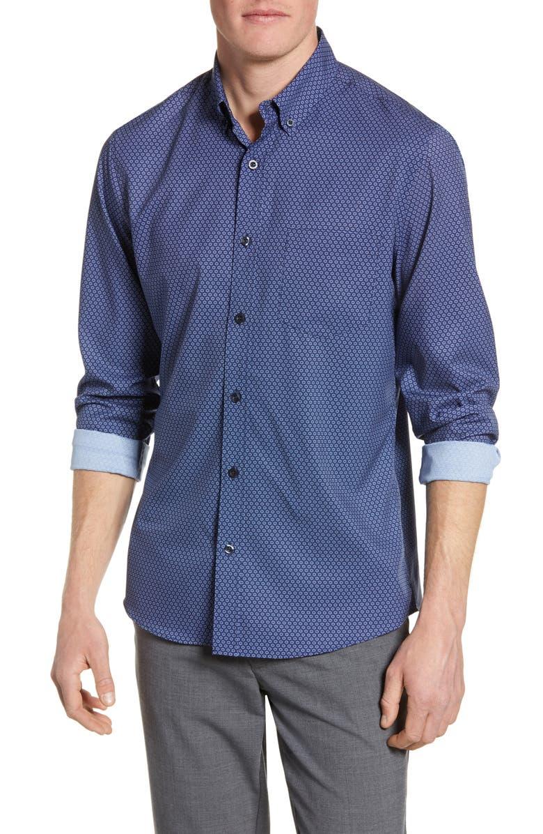 NORDSTROM MEN'S SHOP Tech-Smart Regular Fit Check Shirt, Main, color, 410