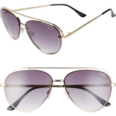 Quay Australia Long Story 60Mm Gradient Aviator Sunglasses - Gold/ Smoke