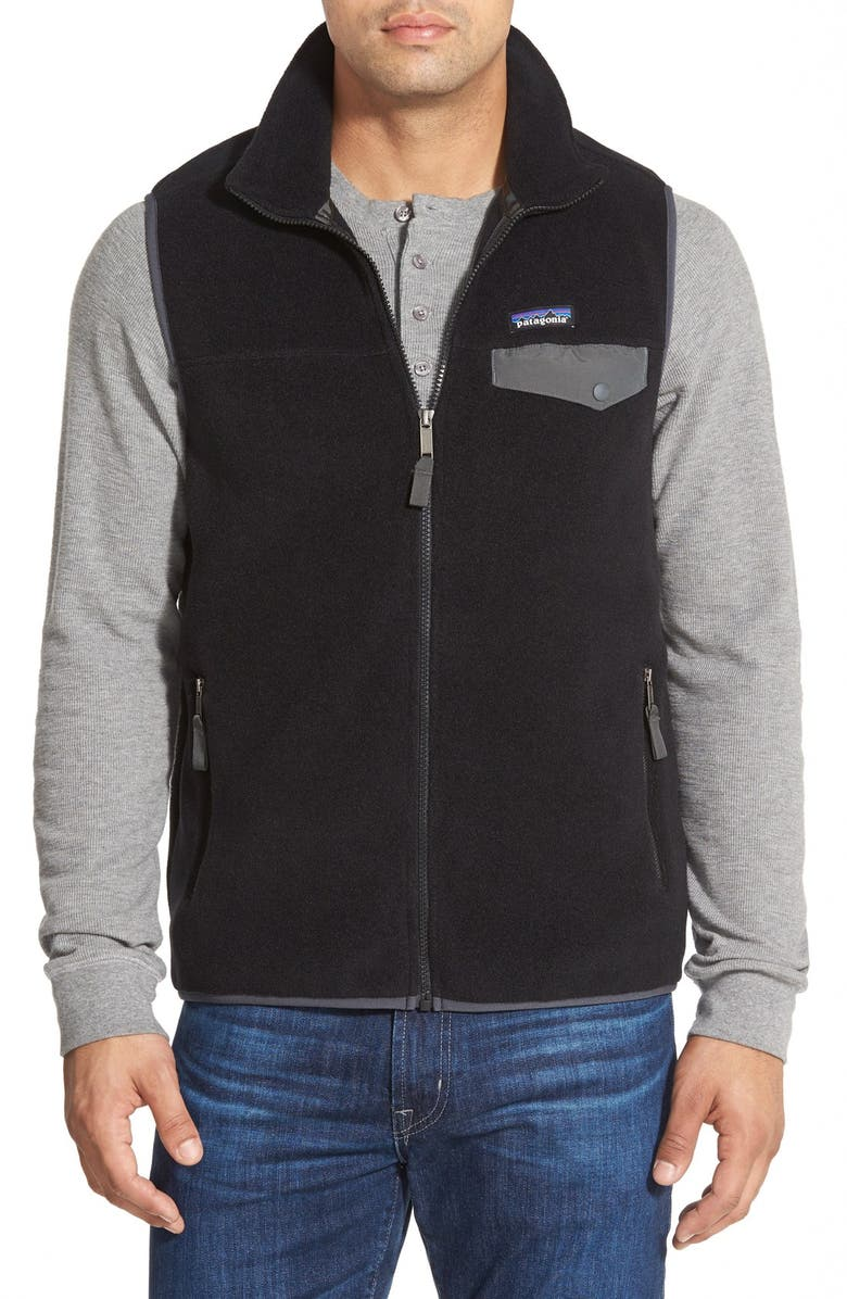 PATAGONIA Synchilla<sup>®</sup> Snap-T<sup>®</sup> Zip Fleece Vest, Main, color, BLACK/ FORGE GREY