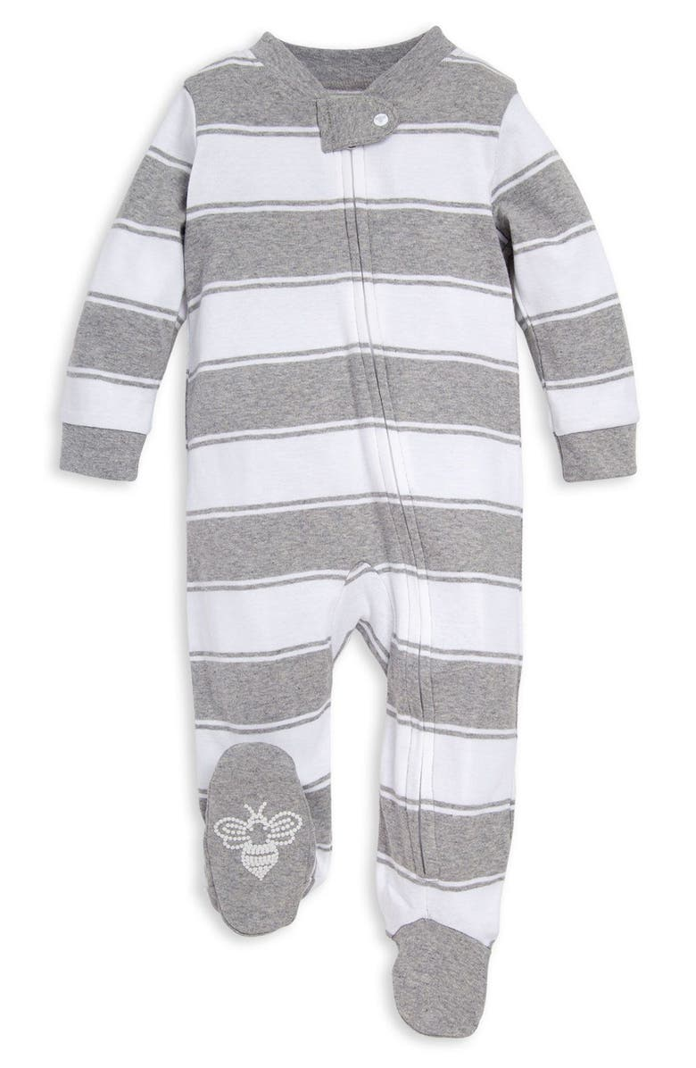 BURT'S BEES Baby Rugby Stripe Footie, Main, color, 021